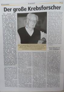 Portrait zum 100. Geburtstag einer der großen Krebsforscher, Dr. Rudolf Pekar. Ein erfolgreiches Beispiel ist das erfolgreiches Behandeln von Hautkrebs mit Gleichstrom