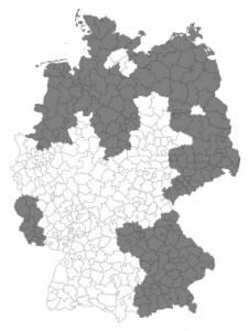 Landkreise, die in der aktuellen Analyse erfasst wurden, sind dunkelgrau markiert. Bild: Wiley