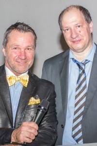 Moderation Ralf Kollinger und sein Freund der Sprecher des Abends Prof. Dr. rer. nat. habil. Burkhard Poeggeler